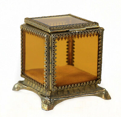 Vintage/antique amber glass brass-mounted square jewelry casket [11182]