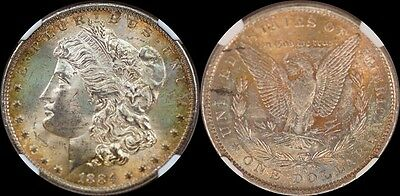 1884-O Silver Morgan Dollar NGC MS63 Beautiful Light Rainbow Color Toned
