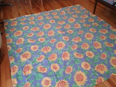 Yellow Sunflowers Duvet Cover 100% Cotton Blue Background 78 x 82 Made in France