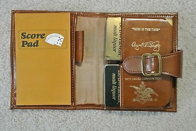 Vtg 1973 Anheuser Bush Budweiser Sales Convention Double Deck Cards Leather Case