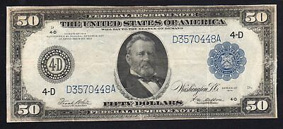 1914 $50 Federal Reserve Note Cleveland FRN Fr 1039a  D3570448A