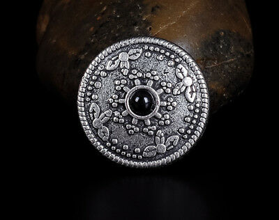10PC 26MM Black Turquoise Sun Star Retro Silver Floral Rope Leathercraft Conchos