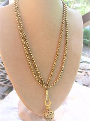 Antique Victorian Gold F Gilt Orb Pendant Fob Chunky Muff Watch Chain Necklace