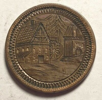 1879 Indian Cent Love Token Pictorial Incredible Village & Mill Scene