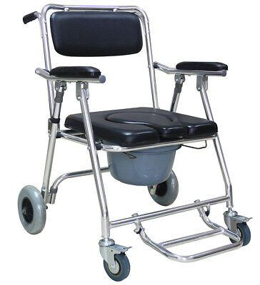 Portable Commode Wheelchair Bedside Toilet Shower Chair Aluminum Frame Healthy