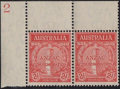 1935 Anzac 2d ULC plate pair number 2, mnh