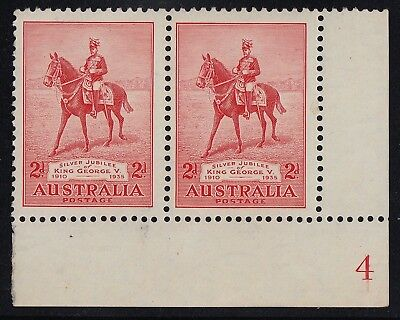 1935 Jubilee 2d plate 4 pair, LRC, mh