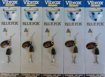 VIBRAX BLUE FOX FISHING LURES ~ SIZE 1 BLACK BLADE WITH RED SPOTS x  5
