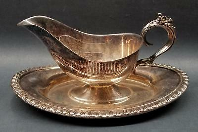 "F.B. Rogers 9.5"" Silverpate Sauce/Gravy Boat Attached Underplate Floral Handle"