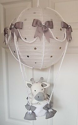 Hot air balloon light shade silver grey with a giraffe looks stunning nursery 💟