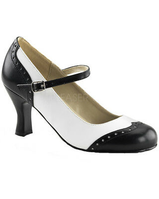 Black And White Flapper Womens Shoes