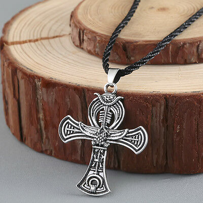 Viking Jewelry Egyptian Cross Life Silver pendant Ankh Silver Necklace Men Gift
