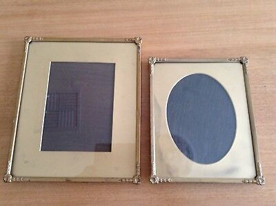 Antique Vintage Gold Metal Picture Frames - 3 X Original With Glass.