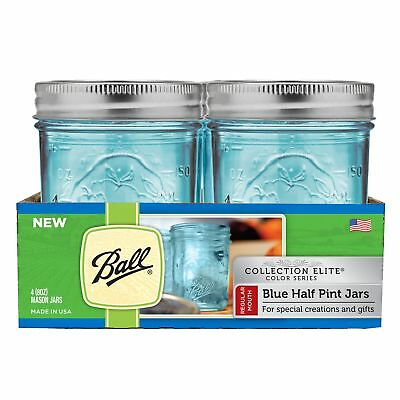 Wide Mouth Half Pint Blue Mason Canning Jar Elite Collection 4 Pack 8 Oz Glass