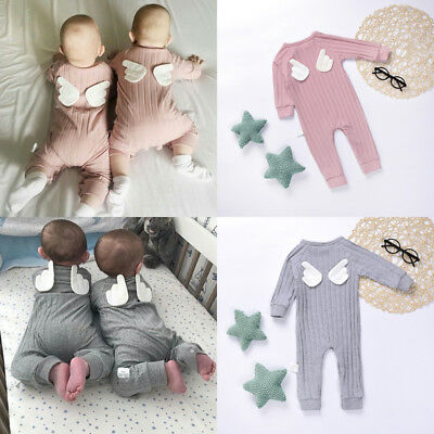 Newborn Infant Baby Girl Boy Angel Wings Clothes Jumpsuit Romper Bodysuit Outfit