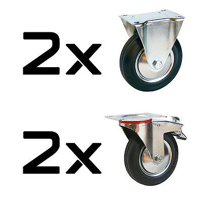 Wheels Transport 4 pieces Fixed Castors + with Brake ø75-160 mm
