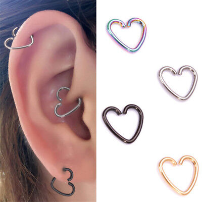 3pc Surgical Steel Heart Ring Piercing Hoop Earring Helix Cartilage Tragus Daith