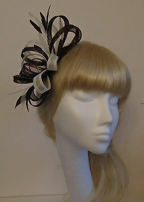 Brown fascinator on headband for wedding/bride/mother of the bride/races