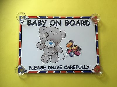 Baby Bear With Toy Baby On Board Car Laminated Sign