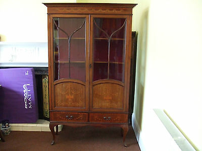 Antique Edwardian Mahogany Inlaid Glazed Display / China Cabinet