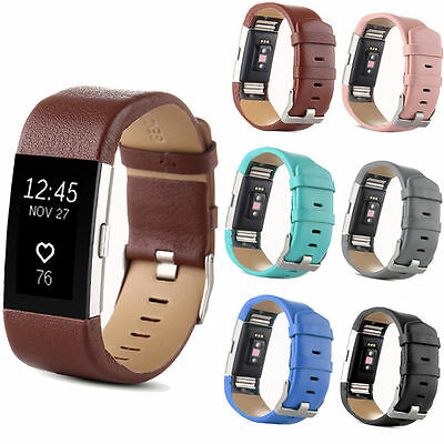 Replacement Genuine Leather Strap Wrist Watch Band For Fitbit Charge 2 Tracker