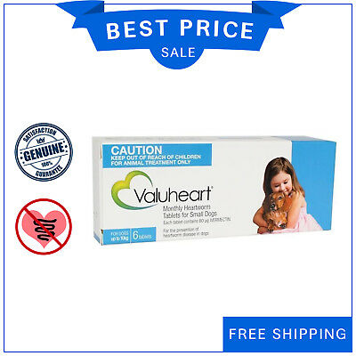 VALUHEART for Dog Up to 10 Kg BLUE Pack 6 Tablets Heartworm treatment for dogs