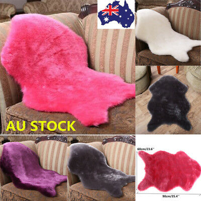 60*90cm Sheepskin Rug Chair Cover Warm Hairy Carpet Seat Pad Plain Skin Fur