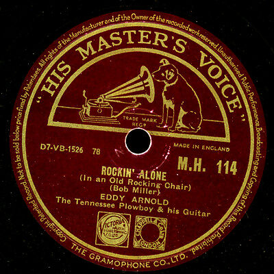 "EDDY ARNOLD ""The Tennessee Plowboy & his Guitar"" Rockin' alone     78rpm S9684"