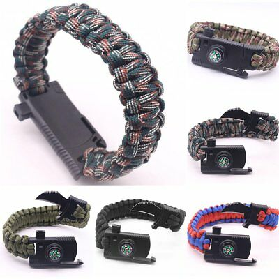 Outdoor Survival Bracelet Knife Paracord Compass Whistle Scraper Rope Gear Kit