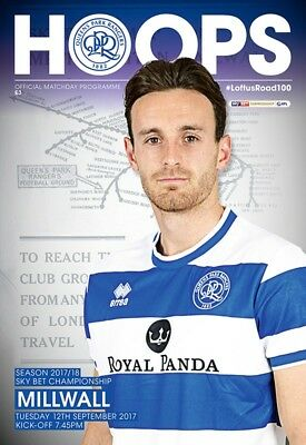 Qpr V Milwall- Championship-Official Programme-12Th September 2017