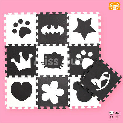 Kids Soft Mat Black And White Luxury Design Puzzle Play Mat Developing Rug 10pcs