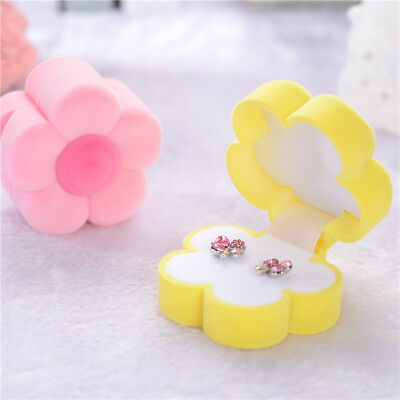 Women Flower Shape Velvet Jewelry Box Ring Earring Carrying Cases  Gifts Box
