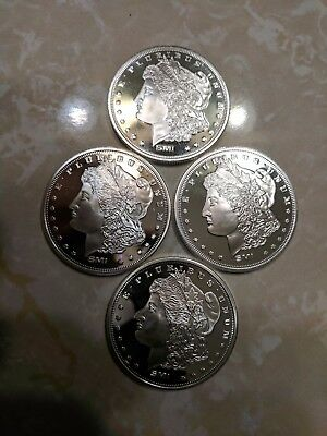 Set of  4, Pure Silver Sunshine Morgan 1 oz. Rounds, Total Weight 4 Troy OZ