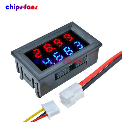 10A 4 Bit 5 Wires Voltmeter Ammeter Blue+Red LED Amp Dual Digital Volt DC 0-200V