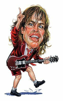 AC/DC Angus Young Caricature Back In Black Sticker or Magnet