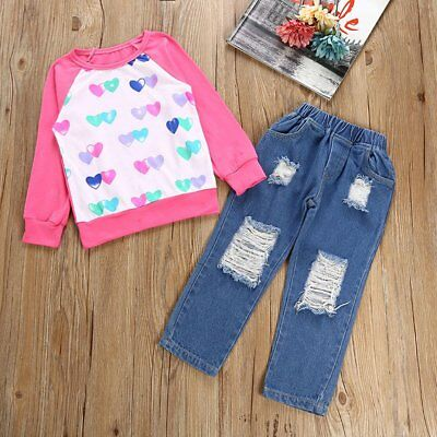 Toddler Kids Baby Girls Outfits Clothes T-shirt Tops+Denim Jeans Pants 2PCS Sets