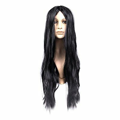 Adult Long Straight Fancy Dress Cosplay Synthetic Hair Wig With Fringe - Black
