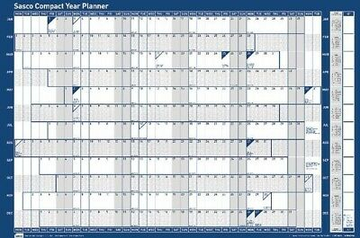 Sasco Compact Whole Year To View Landscape Dry Wipe Wall Planner 2018 | Blue