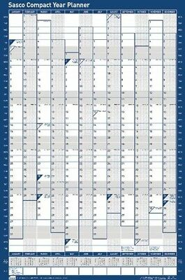 Sasco Compact Whole Year To View Dry Wipe Wall Planner Portrait 2018 | Blue
