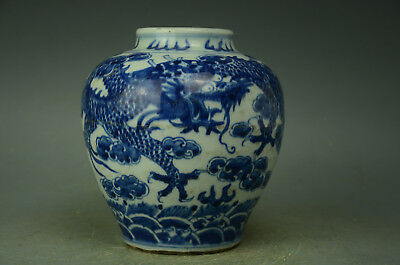 Chinese  White And Blue Porcelain Dragon Pot