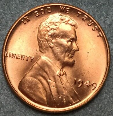 *1949 P* RD Red Uncirculated Lincoln Wheat Cent Penny L78 *Free S&H*