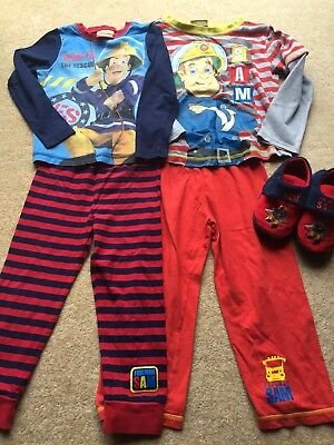 boys Fireman Sam pajamas and slipper bundle age 3-4 PJ'S nightwear