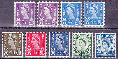 GB Scotland 1967 - 70 Pre-decimal set. SG S7 to S13  9 stamps. MNH