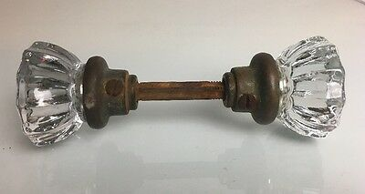 Antique Glass Door Knob Handle Building Hardware 12 Point Handle. (w/ Lock)