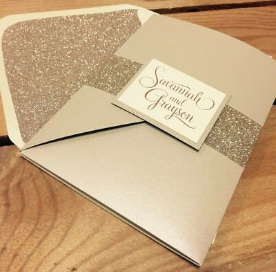 'Savannah' Champagne pearlised pocket wedding invite sample & gold glitter wrap