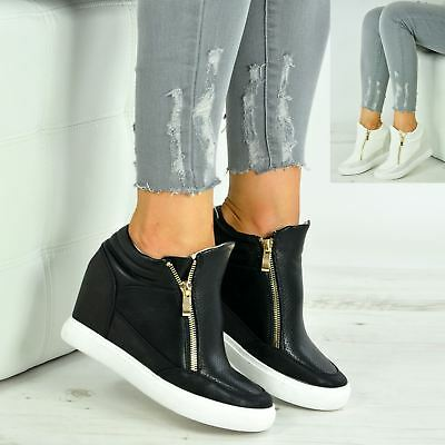 New Womens Low Wedges Ladies Side Zip Ankle Trainers Sneakers Shoes Size Uk 3-8