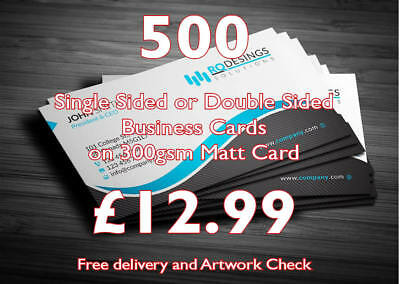 500 business cards single or double sided on 300gsm free delivery