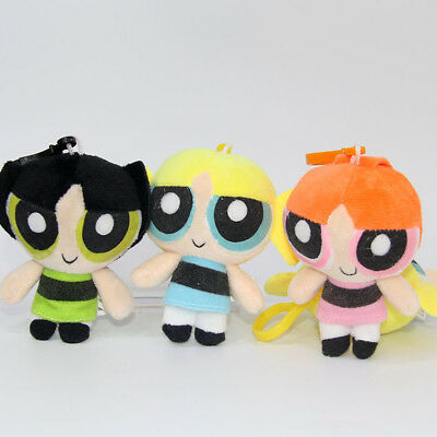 "4"" 3PCS Powerpuff Girls Doll The 1999 Cartoon Network Plush Toy Kid's Gift 2017"