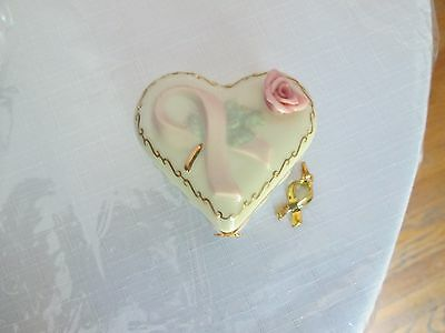 Lenox GIFT OF HOPE Cancer ribbon  Treasure Box  with gold charm 24kt trim
