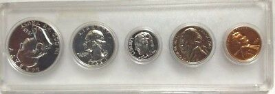 "1963 Proof Set 90% Silver Franklin Washington US Mint 5 Coins ""Beautiful"""